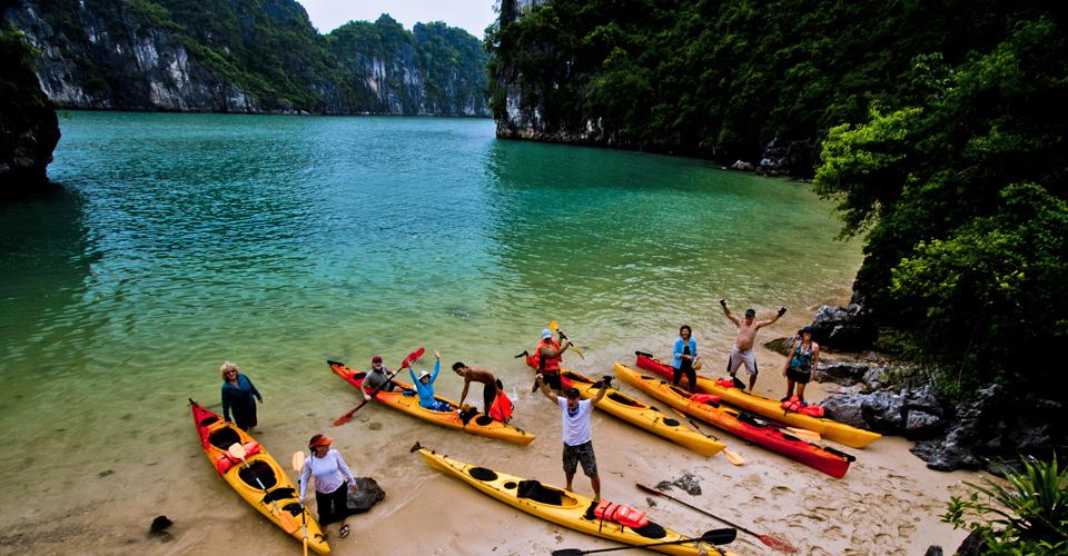 Kayaking on the beach