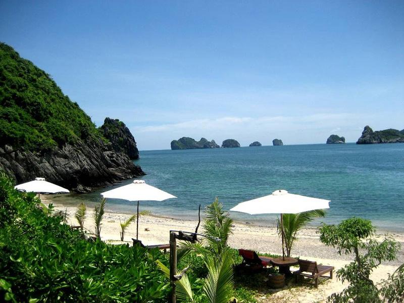 Monkey island with white sand