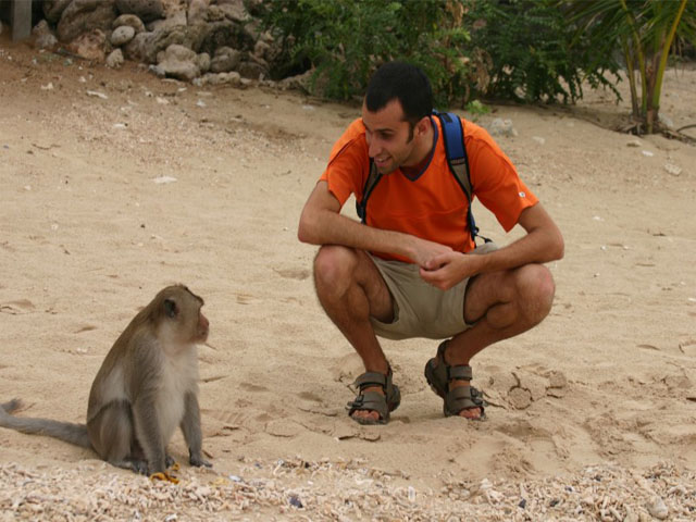Talking with a lovely monkey
